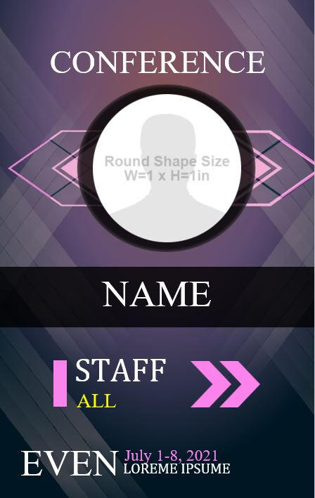 Free Printable Event ID card design: